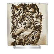 Alpha Male - The Wolf - Antiqued Shower Curtain