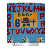 Alphabet Boat Shower Curtain