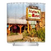 Alpine Motel Vintage Roadside Oasis Yellowstone Shower Curtain