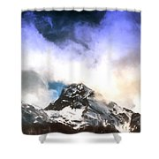 Alpine Mountains And Clouds Watercolour Shower Curtain