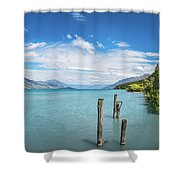Alpine Scenery Panorama At Kinloch, New Zealand Shower Curtain