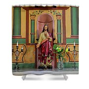 Altar Detail Of San Juan Bautista Mission Shower Curtain