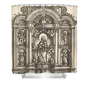 Altar With The Virgin And Child And Saints Christopher, Barbara, George And Catherine Shower Curtain