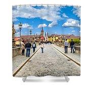 Alte Mainbrucke In The Historic City Of Wurzburg Shower Curtain