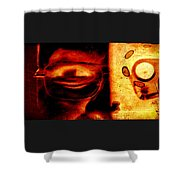 Altered Image In Red Shower Curtain