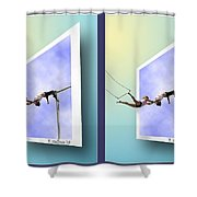 Alternate Universes - Gently Cross Your Eyes And Focus On The Middle Image Shower Curtain