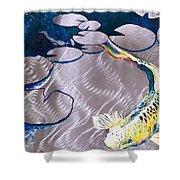 Aluminum Print, Koi Fish Print On Metal. Fish Art - Yellow - Blue - Green 3d Painting Of Koi Fish, A Shower Curtain