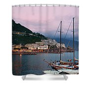 Amalfi Harbor Sunset Shower Curtain