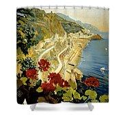 Amalfi Italy Italia Vintage Poster Restored Shower Curtain