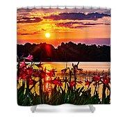 Amaryllis At Sunrise Over Lake Shower Curtain