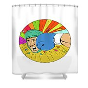 Amateur Boxer Hit By Glove Punch Oval Drawing Shower Curtain