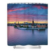 Dramatic Sunset Over Stockholm Shower Curtain