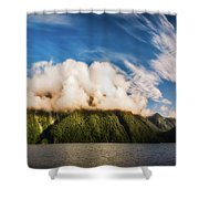 Amazing Cloud Formation At Lake Manapouri In New Zealand Shower Curtain