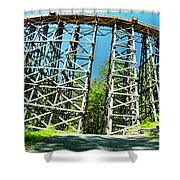 Amazing Kinsol Wooden Trestle Panorama View, Vancouver Island, Bc, Canada. Shower Curtain