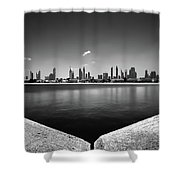 Amazing Panorama Reflection Of Dubai Jumeirah Beach, Dubai, United Arab Emirates Shower Curtain