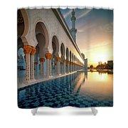 Amazing Sunset View At Mosque, Abu Dhabi, United Arab Emirates Shower Curtain