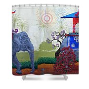 Amazing Wall Art Painting Or Elephants Shower Curtain
