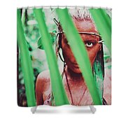 Amazonian Goddess Portrait Of A Wild Looking, Camouflaged Warrior Girl Holding Bow And Arrow Shower Curtain