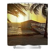 Ambergris Cayr Sunrise Palm Trees San Pedro Belize Shower Curtain