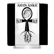 Amen Ankh Bw Shower Curtain