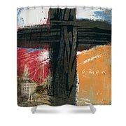 Amen Contemporary Cross- Art By Linda Woods Shower Curtain