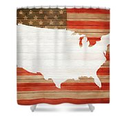 America Rustic Map On Wood Shower Curtain