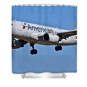 American Airlines Plane Preparing To Land At The Bwi Airport Shower Curtain