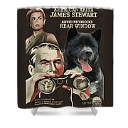 American Akita Art Canvas Print - Rear Window Movie Poster Shower Curtain