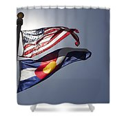 American And Colorado Flags Shower Curtain