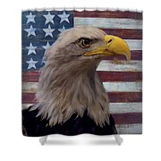 American Bald Eagle And American Flag Shower Curtain