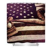 American Baseball Grunge Shower Curtain