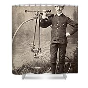 American Bicyclist, 1880s Shower Curtain