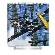 American Bombing Raid Over Europe In July 1943 Shower Curtain