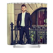 American Businessman With Beard Working In New York Shower Curtain