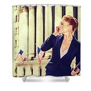 American Businesswoman Working In New York Shower Curtain