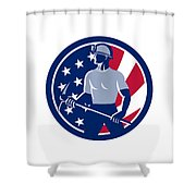American Coal Miner Usa Flag Icon Shower Curtain