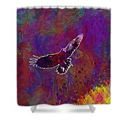 American Crow Flying Ave Fauna  Shower Curtain