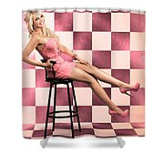 American Culture Pin Up Girl Inside 60s Retro Diner Shower Curtain