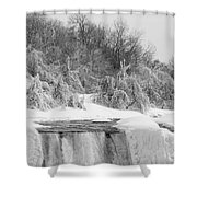 American Falls In Winter In Black And White Shower Curtain