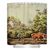 American Farm Scenes Shower Curtain by Currier and Ives
