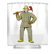 American Firefighter Fire Axe Drawing Shower Curtain