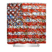 American Flag Abstract 2 With Trees  Shower Curtain