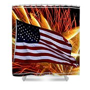 American Flag And Fireworks Shower Curtain