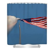 American Flag At The End Of Tall Post With Blue Skies Shower Curtain