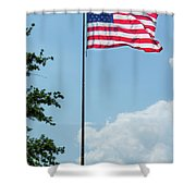 American Flag Flying Proud Shower Curtain