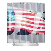 American Flag In Front Of Business Building  Shower Curtain