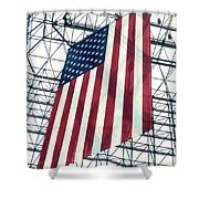 American Flag In Kennedy Library Atrium - 1982 Shower Curtain