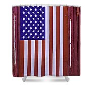 American Flag In Red Window Shower Curtain