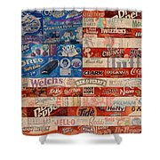 American Flag - Made From Vintage Recycled Pop Culture Usa Paper Product Wrappers Shower Curtain