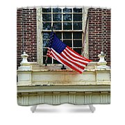 American Flag On An Old Building Shower Curtain